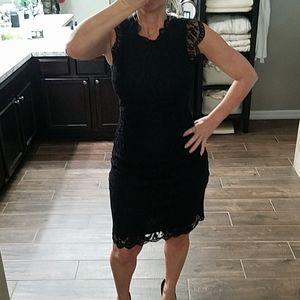 Black lace cap shoulder dress